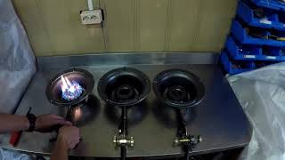 демонстрация работы газового вок-стакана 25 см с тремя кранами