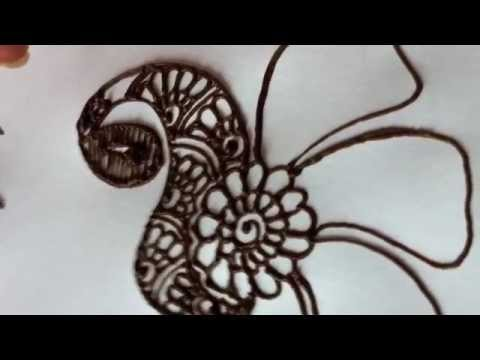 Mehndi Peacock Designs Drawings : How to draw a peacock in henna mehndi youtube