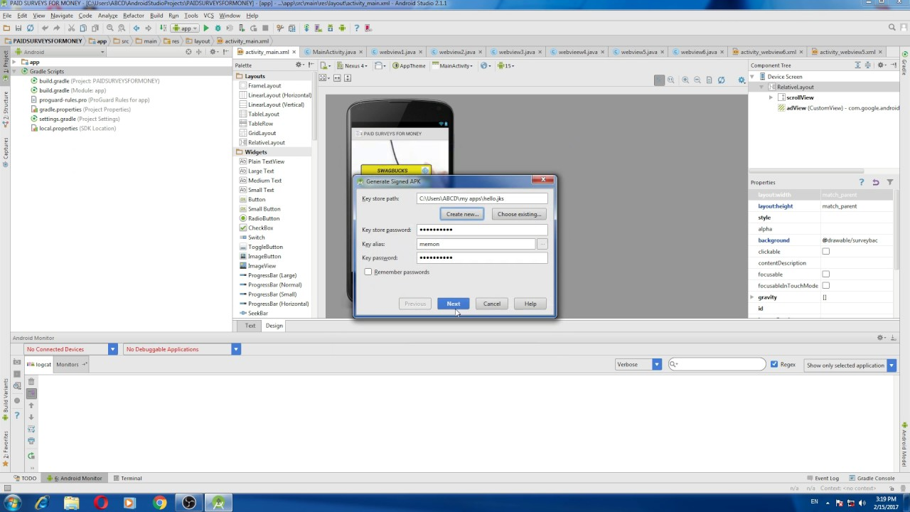 generate signed apk android studio l build apk l how to generate signed apk in Android studio  #Smartphone #Android