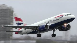British Airways Airbus A318 Take Off at London City Airport