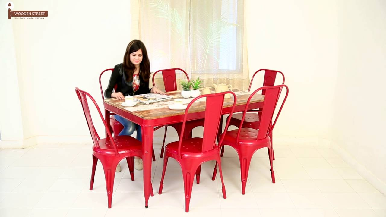 Dining Table Karlos 6 Seater Iron Dining Table Set Online In India