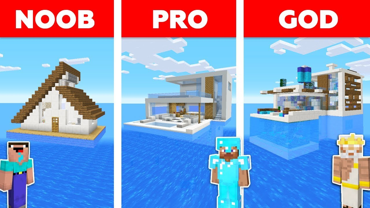 Minecraft Battle: NOOB vs PRO vs GOD: HOUSE ON WATER in MINECRAFT / Animation thumbnail