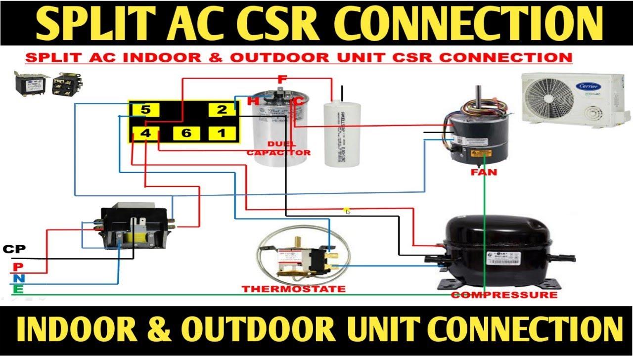 SPLIT AC CSR WIRING! SPLIT AC OUTDOOR UNIT CONNECTION!CSR WIRING - YouTube   Split Ac Csr Wiring Diagram      YouTube