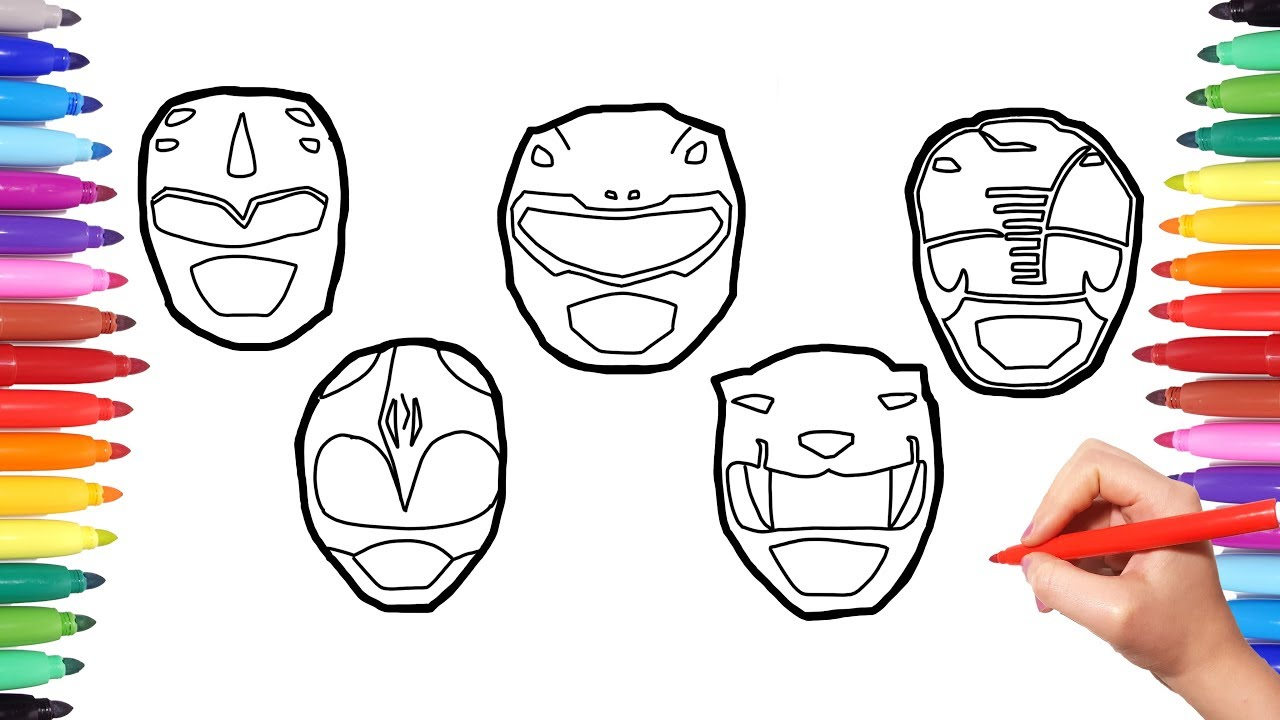 Power Rangers Faces Coloring Pages, How o Draw Power Rangers Faces,  Colouring powerrangers for Kids