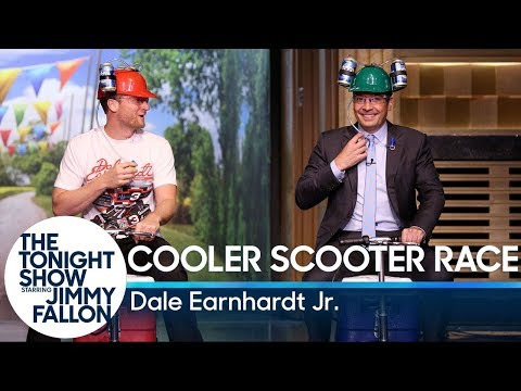 Jimmy Challenges Dale Earnhardt Jr. to a Cooler Scooter Race