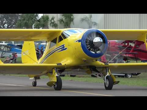 Beechcraft Staggerwing N27E Start-up & Taxi at KCRG on 4/22/17