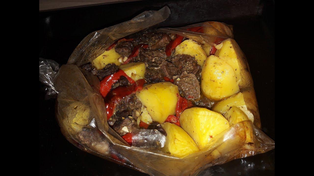 Ужин /Мясо с Овощами в Рукаве/Вкусный Ужин на Скорую Руку «Картошка с Мясом и Овощами в Духовке в Рукаве»