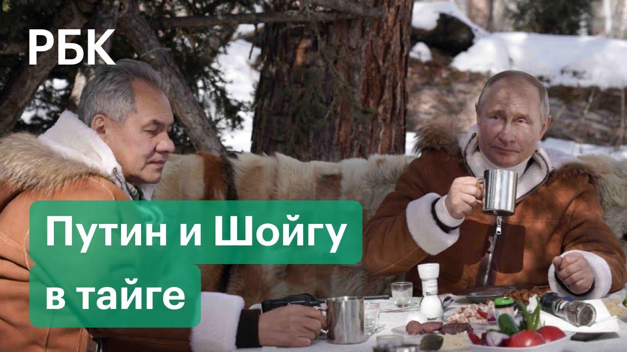 Видео с отдыха Владимира Путина и Сергея Шойгу в тайге