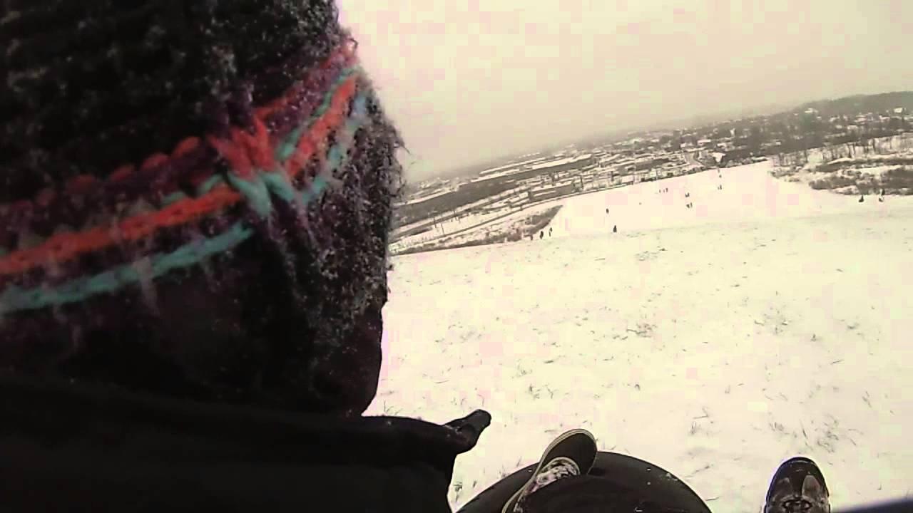 Sled\'n at Mt. Trashmore... Kitchener Ontario - YouTube