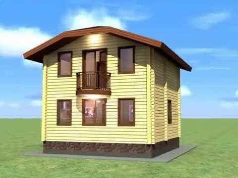 дом 6,7*7,2 м из кл.бруса с мансардой и балконом