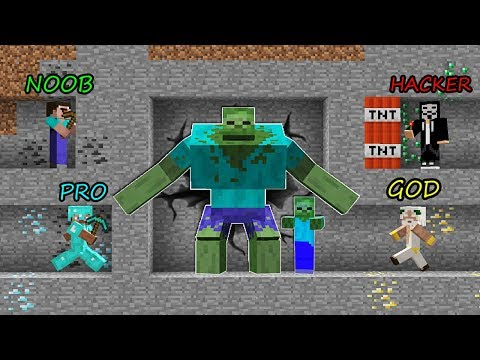 Minecraft Battle: NOOB Vs PRO Vs HACKER Vs GOD - MINING ZOMBIE FAMILY Challenge! Minecraft Animation