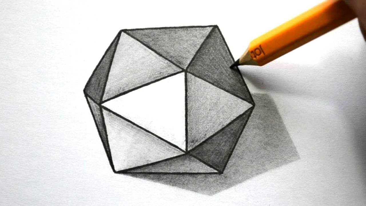 How to Draw a 3D Hexagon - YouTube for 3d Geometric Shapes Drawings  110ylc