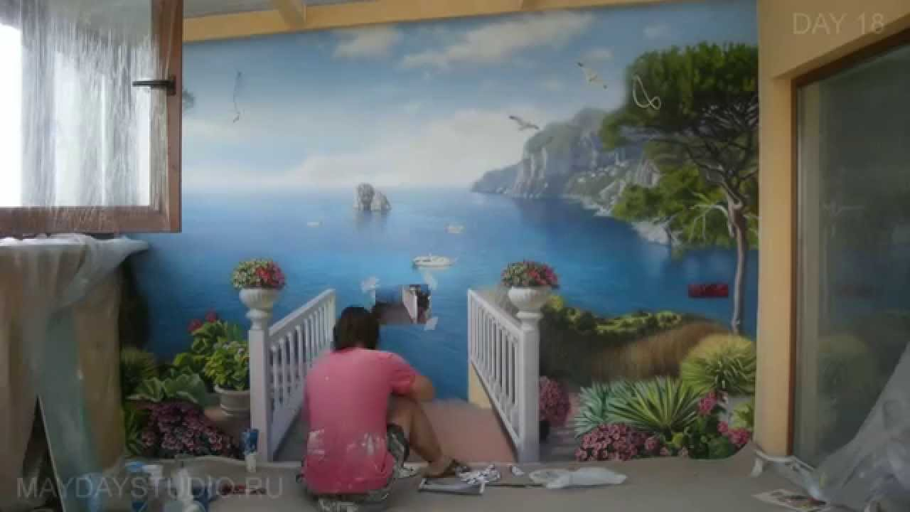 Художественная роспись стены (Speed wall painting) [HD]