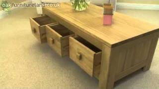 Oakdale Solid Oak 6 Drawer Coffee Table (3 Drawers Each Side) From Oak Furniture Land