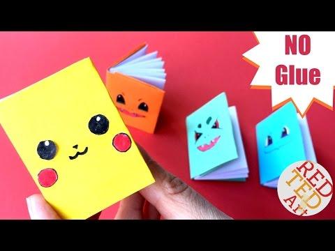Easy Pokemon Mini Notebook NO GLUE (Part 2) - Mini Pokemon Notebooks   2 Color Notebook