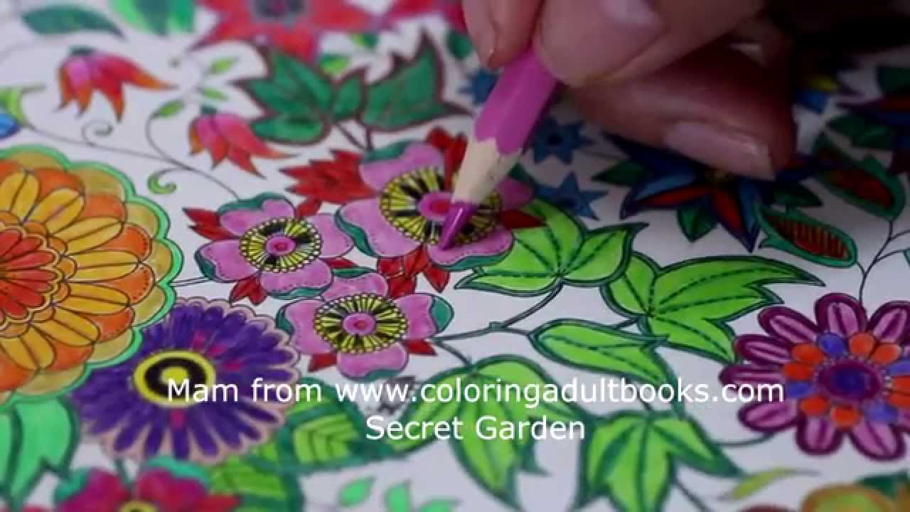 Coloring A Page From The Secret Garden Adult Coloring Book