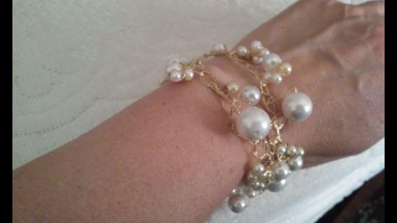 a1e0163e1ba8 Cursos de bisuteria pulseras de alambre como hacer pulseras de perlas  alambrismo bisuterias