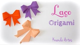Como fazer Laço de papel - Origami - How to make a paper Bow / Ribbon