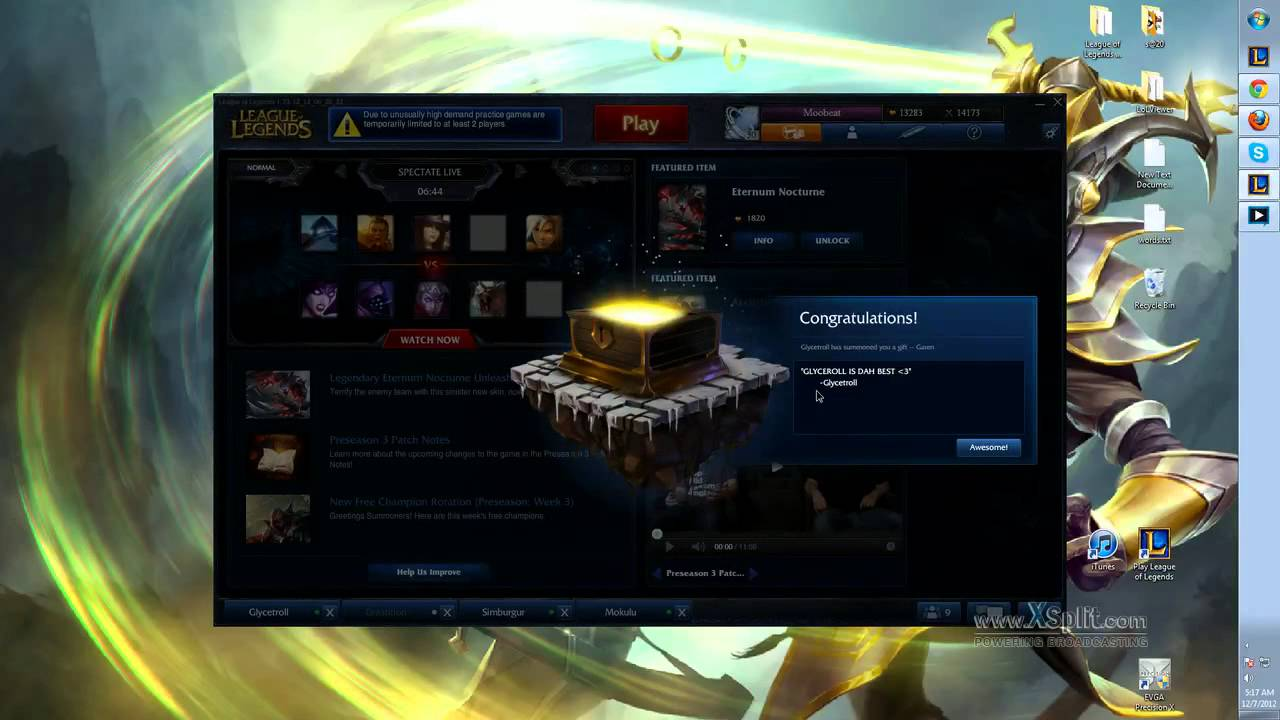 12/7 PBE: Gifting Center Gift Received Animation - YouTube