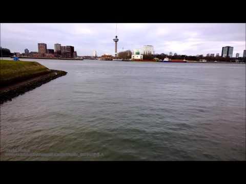 Crossing of Nieuwe Maas and Maashaven (south bank), Rotterdam, Netherlands.