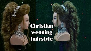 christian wedding hairstyle    front backcombing puff    bridal hairstyle    western hairstyle 2018