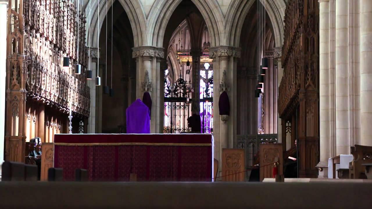 Benedictine monks chant midday prayers (Downside Abbey)