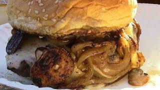 Mushroom Onion Swiss Burgers On The Blackstone Griddle