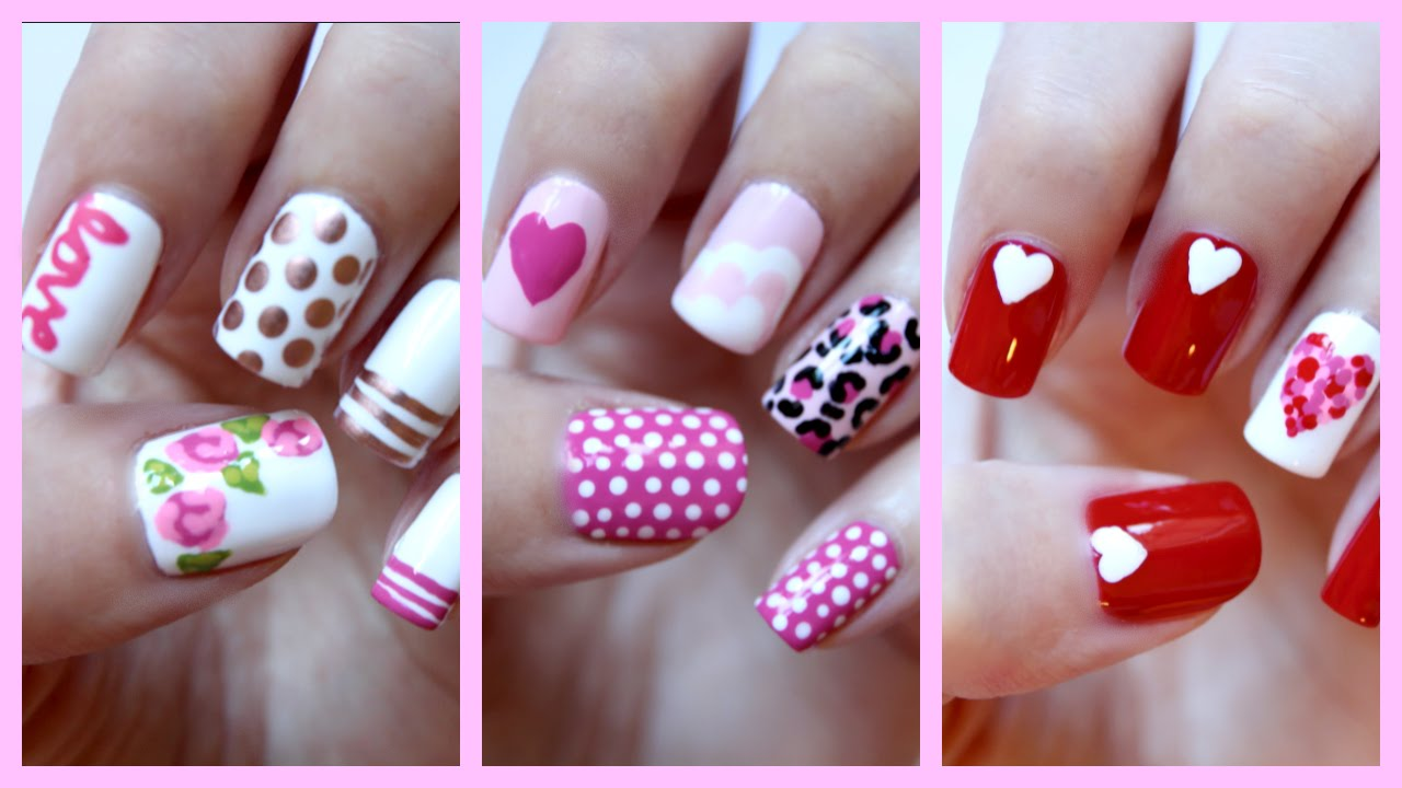 Valentines Day Nails Three Easy Designs Jennyclairefox Youtube