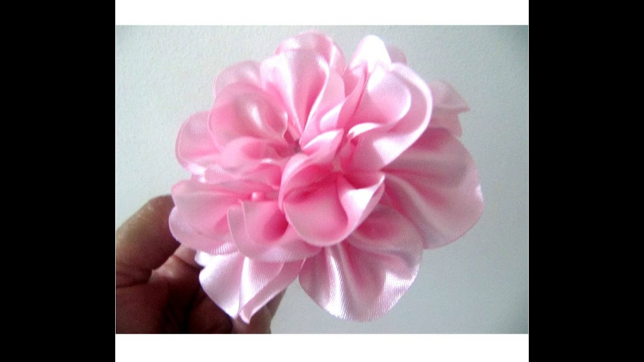 Moños para el cabello en cintas rosas crespas paso a paso - YouTube