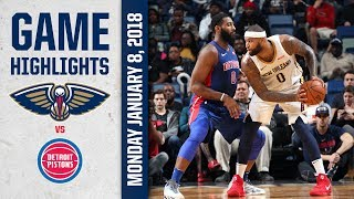 Pelicans Game Highlights vs. Detroit Pistons - 1/8/18