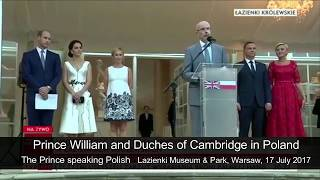 Prince William speaking Polish in Poland and applauded