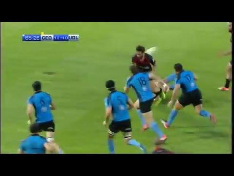 Giorgi Pruidze backhand pass breaks opens up Uruguay defence