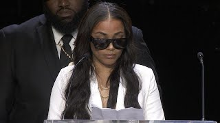 """Lauren London extolled her late fiancé, rapper Nipsey Hussle, as """"an incredible soul...and someone very rare"""" during a Thursday memorial service honoring the ..."""