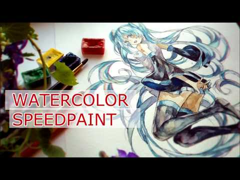 Watercolor Painting Tutorial Anime girl