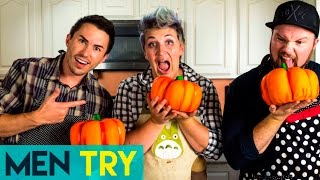 Men Try Cake Decorating - Decorating a Pumpkin Cake For Halloween