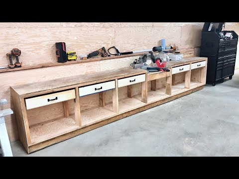 """""""Pony Walls"""" Workbench With Built In Miter Saw"""