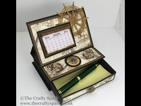 Single Drawer Desktop Calendar and Post It Note Holder
