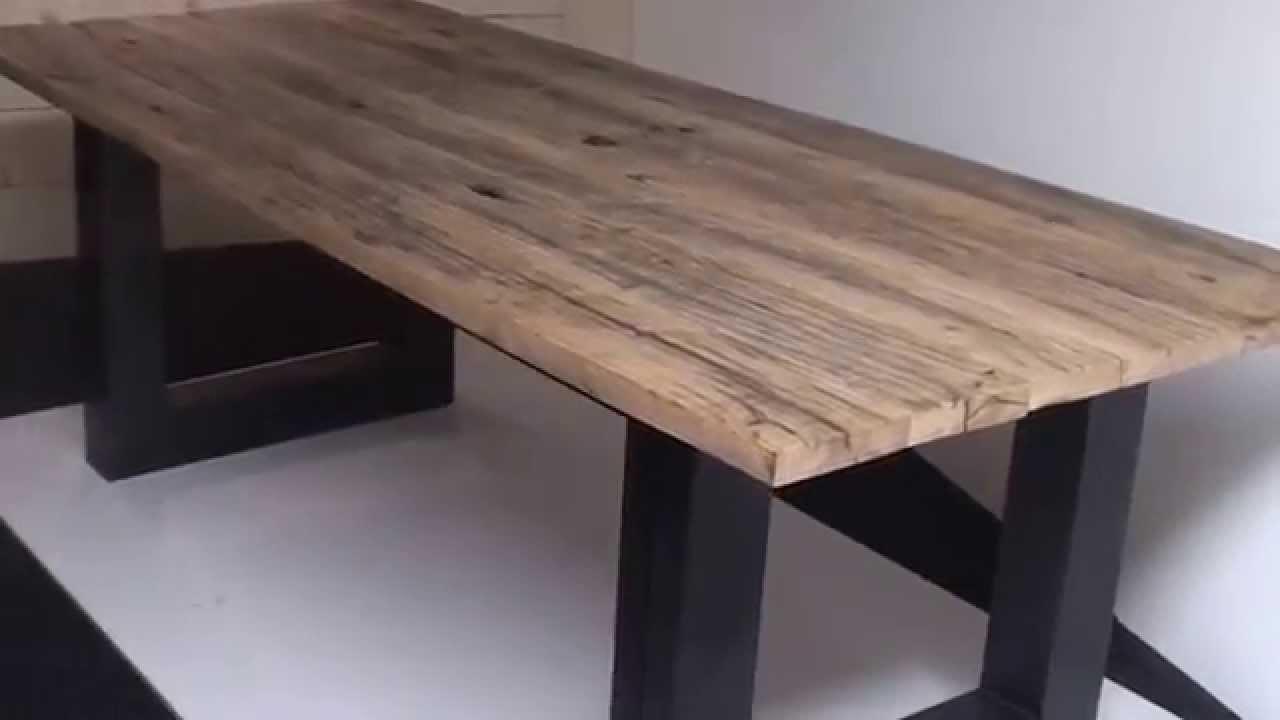 Robuuste Industriele Eettafel.Industriele Robuuste Tafels Eettafels Eiken Wagonplanken Wagondelen En Wagonhout