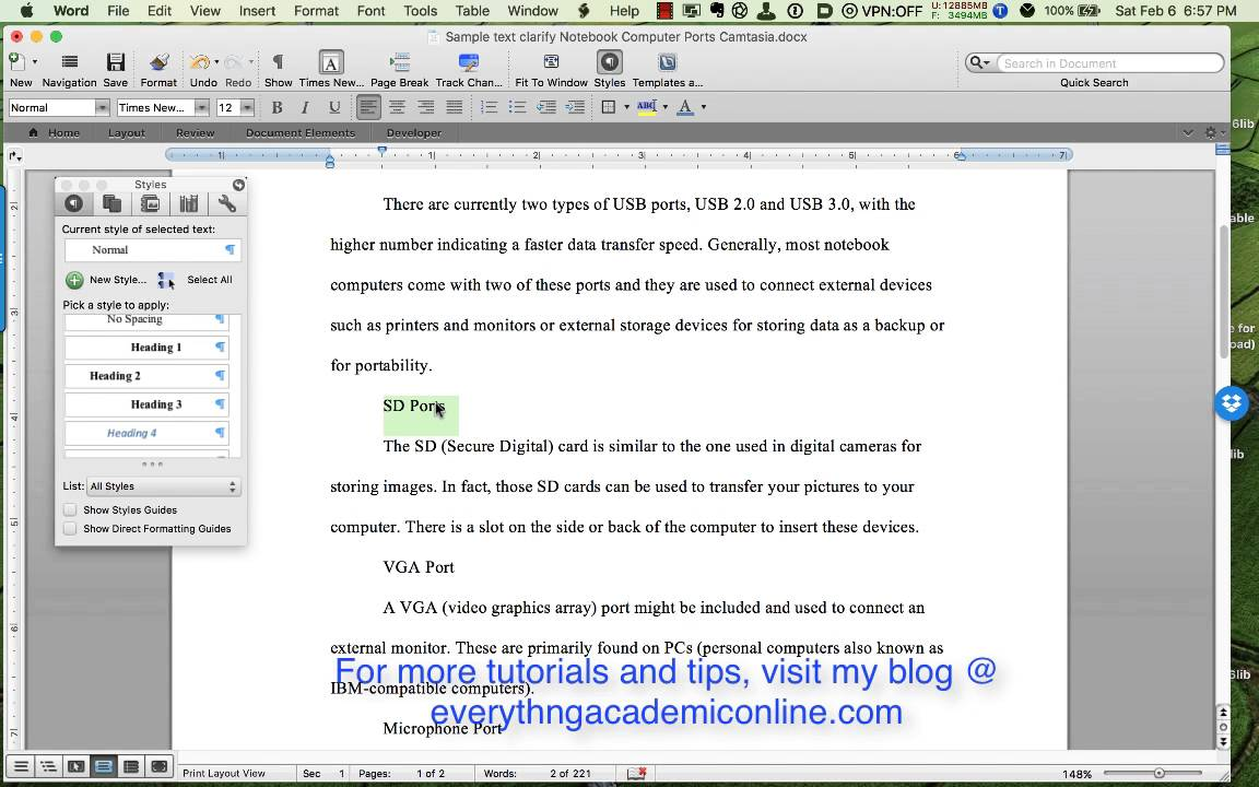 Formatting Section Headings In Word YouTube
