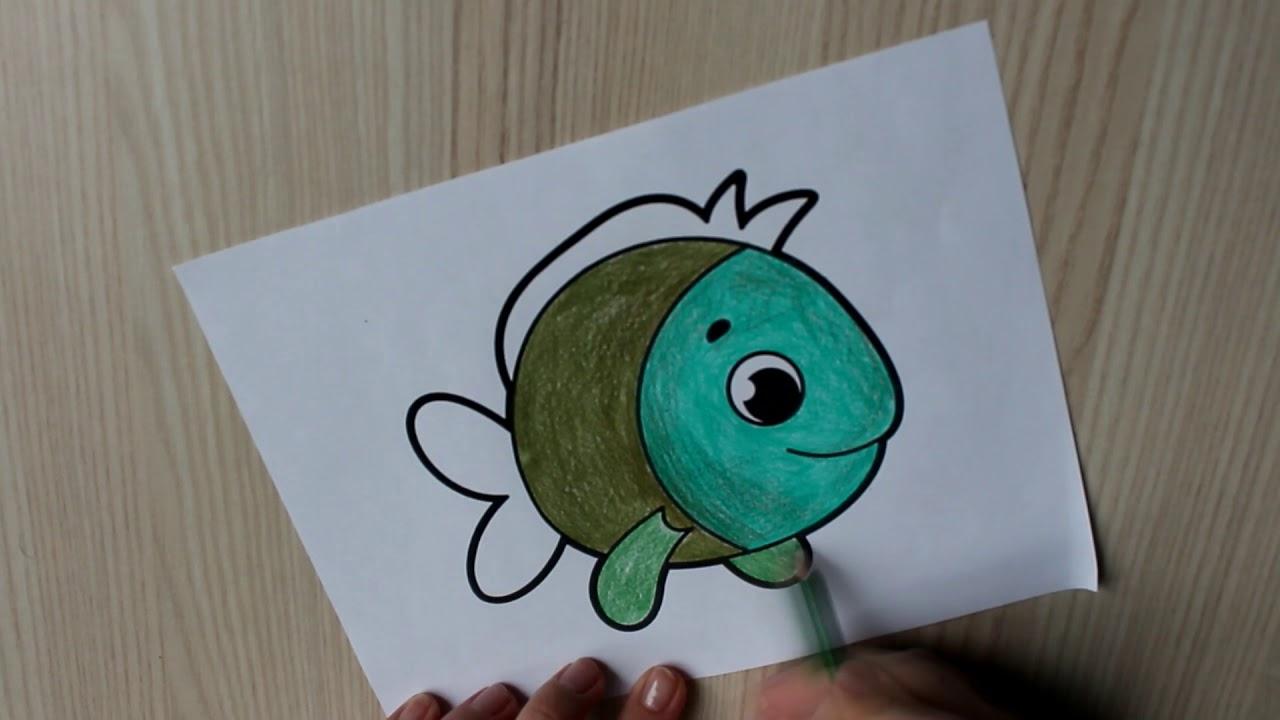 Раскраска рыбка/ Как раскрасить рыбу/ Coloring fish - YouTube
