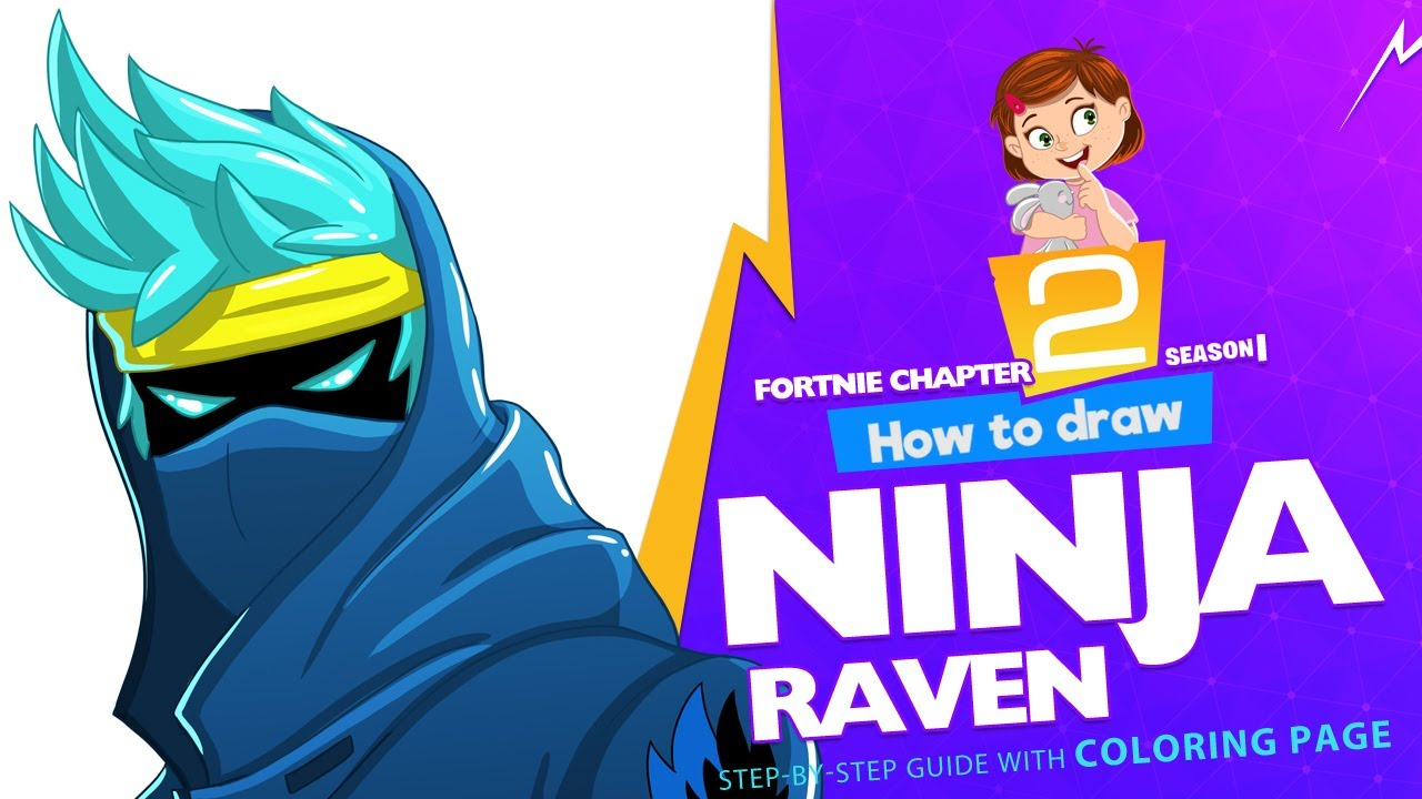how to draw ninja raven  fortnite chapter 2  stepby