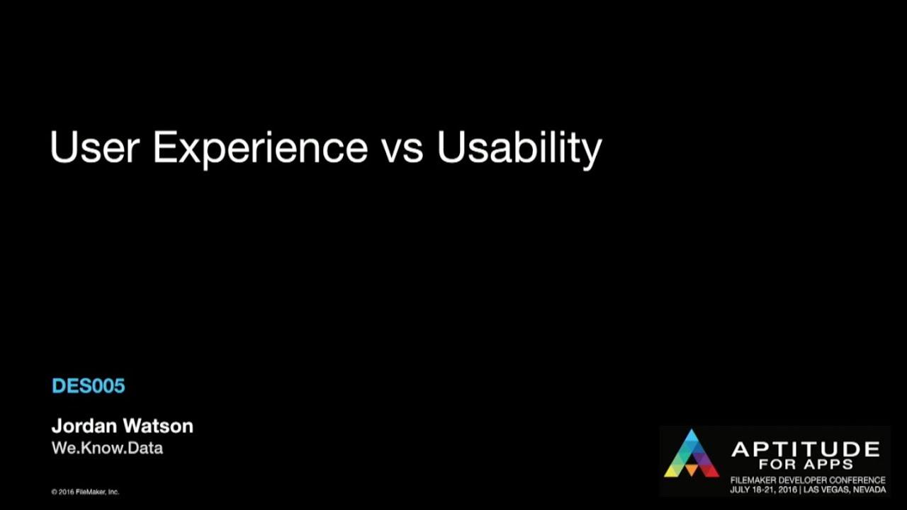 User Experience vs  Usability by Jordan Watson