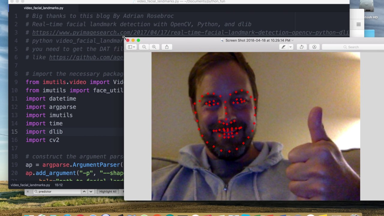 Code Run Through: Real time facial landmark detection with OpenCV, Python,  and dlib