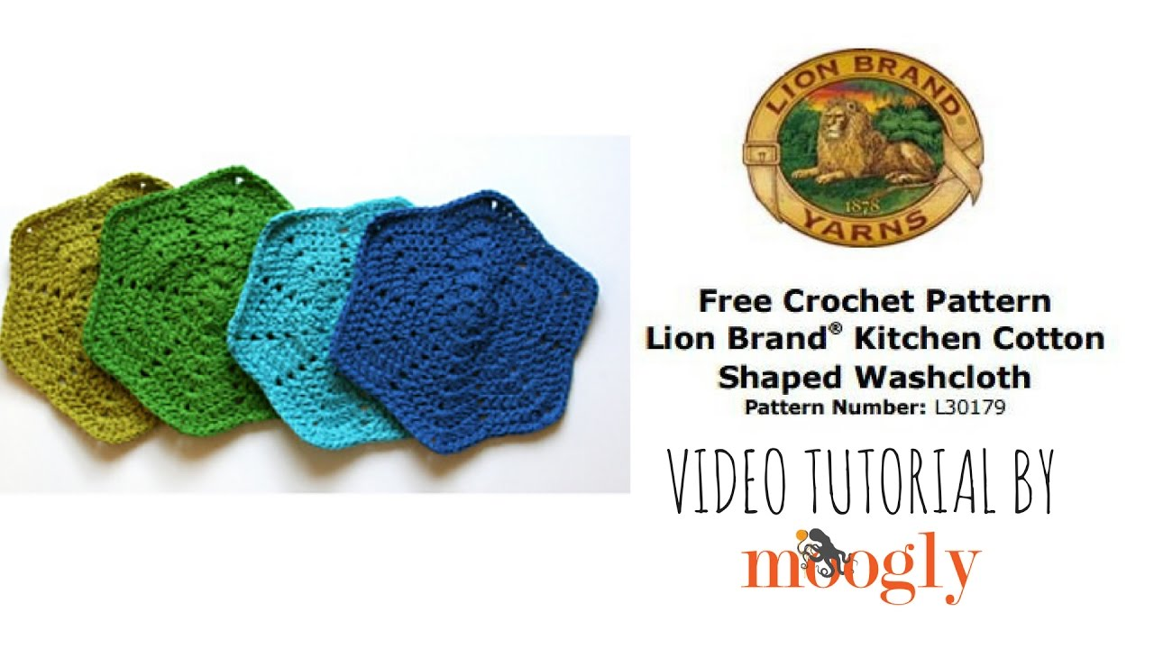 How to Crochet: Lion Brand® Kitchen Cotton Shaped Washcloth (Pattern ...