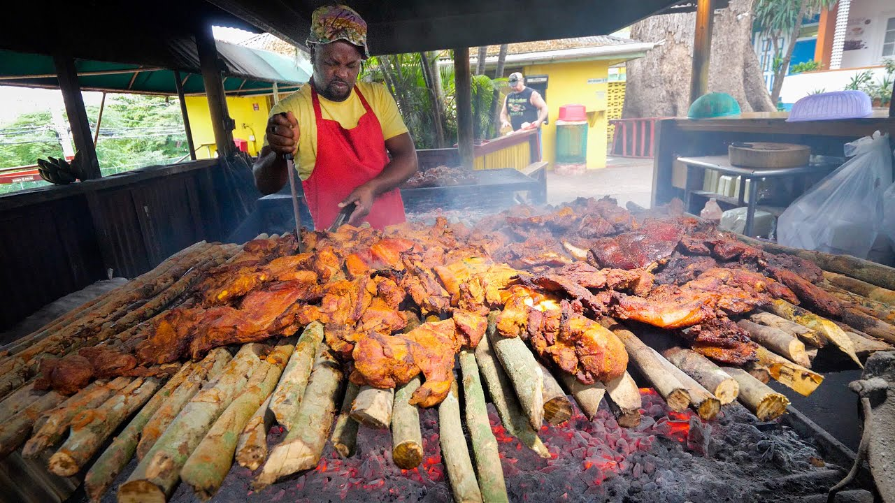 Insane Jamaican Jerk BBQ!! HUGE MEAT PIT + Jerk Champion in Montego Bay, Jamaica! ??