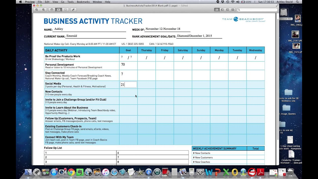 how to use the business activity tracker