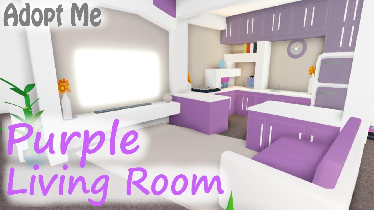 Purple Modern Living Room Workspace Speed Build Adopt Me Roblox Youtube