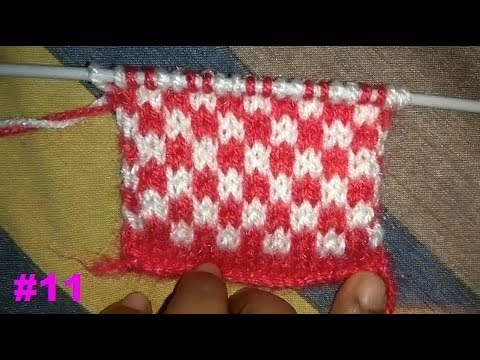 Easy Two Color Knitting Pattern No.19(Check Design) Hindi - YouTube