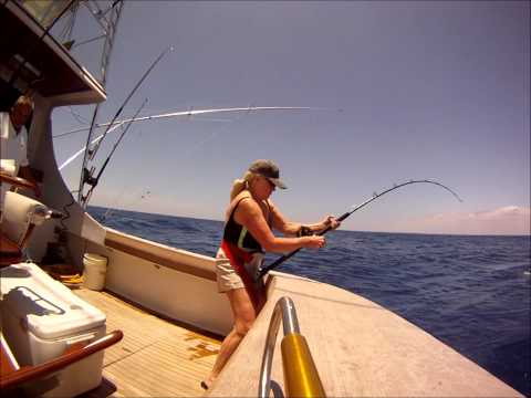 Lady Fishing a Dorado in Panama