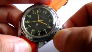 how to set an vostok komandurskie  officer's  or captain's  winding watch